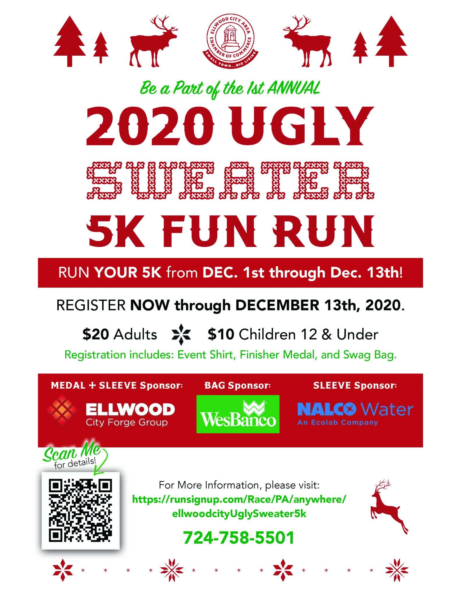 RUN YOUR 5K from DEC. 1st through Dec. 13th! REGISTER NOW through DECEMBER 13th, 2020. $20 Adults $10 Children 12 & Under Registration includes: Event Shirt, Finisher Medal, and Swag Bag.